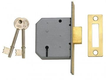 2177 3 Lever Mortice Deadlock Polished Brass 65mm 2.5in Box